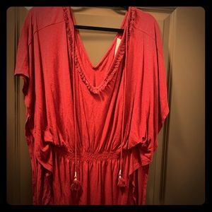 Loft Beach MAROON Drawstring dress/ coverup